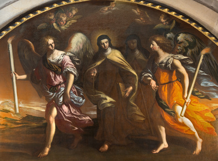 BRESCIA, ITALY - MAY 22, 2016: The painting St. Theresia guided with the angels in Chiesa di San Pietro in Olvieto by F. Paglia (1696).