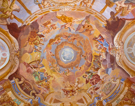 BANSKA STIAVNICA, SLOVAKIA - FEBRUARY 20, 2015: The  fresco on cupola in the middle church of baroque calvary by Anton Schmidt from years 1745. Angels with the music instruments. Editorial