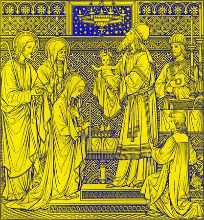 BRATISLAVA, SLOVAKIA, NOVEMBER - 21, 2016: The lithography of Presentation in the Temple by unknown artist with the initials F.M.S from end of 19. cent. and printed by Typis Friderici Pustet.