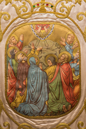 vestment: SALAMANCA, SPAIN, APRIL - 18, 2016: The painting on the vestment. The Ascension of the Lord in Convento de las Duanas by unknown artist.