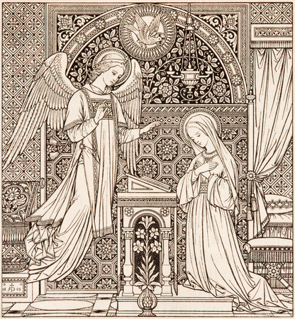 BRATISLAVA, SLOVAKIA, NOVEMBER - 21, 2016: The lithography of Annunciation in Missale Romanum designed by unknown artist (1892) and printed in Germany by Typis Friderici Pustet.