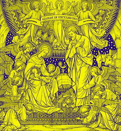 lithography: BRATISLAVA, SLOVAKIA, NOVEMBER - 21, 2016: The lithography of Nativity in Missale Romanum by unknown artist with the initials F.M.S from end of 19. cent. and printed by Typis Friderici Pustet.