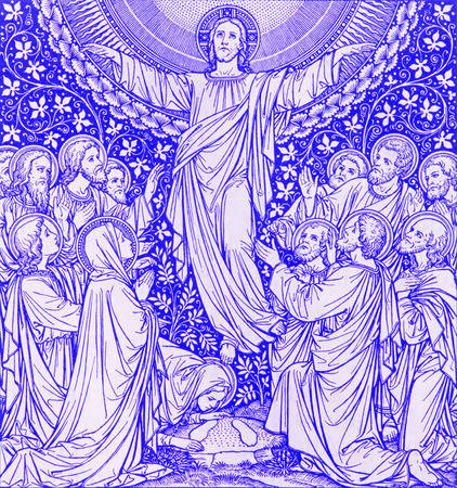 lithography: BRATISLAVA, SLOVAKIA, NOVEMBER - 21, 2016: The lithography of Ascension in Missale Romanum by unknown artist with the initials F.M.S from end of 19. cent. and printed by Typis Friderici Pustet.