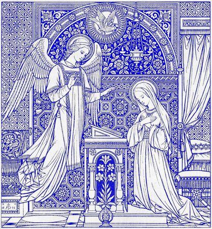 BRATISLAVA, SLOWAKIJE, 21 NOVEMBER 2016: De lithografie van Annunciatie in Missale Romanum ontworpen door onbekende kunstenaar (1892) en gedrukt in Duitsland door Typis Friderici Pustet. Redactioneel