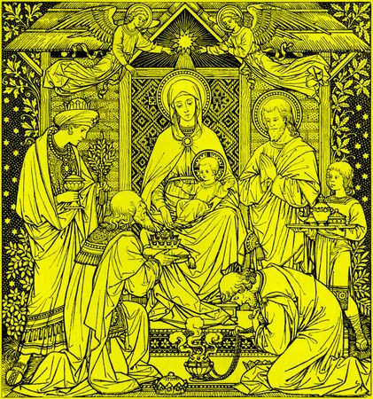 BRATISLAVA, SLOVAKIA, NOVEMBER - 21, 2016: The lithography of Three Magi in Missale Romanum by unknown artist with the initials F.M.S from end of 19. cent. and printed by Typis Friderici Pustet.