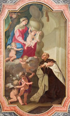carmine: BRESCIA, ITALY - MAY 21, 2016: The altar-piete painting St. Albert venerating Mary  in church Chiesa di Santa Maria del Carmine by Giuseppe Tortelli (1662 - 1734)