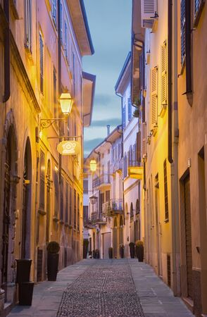 cavour: CREMONA, ITALY - MAY 24, 2016: The street of old town in morning dusk. Editorial
