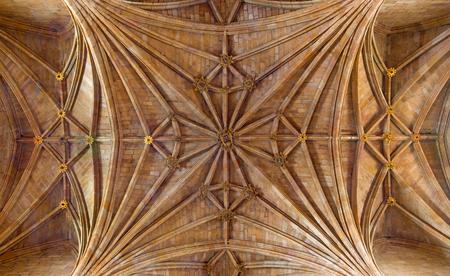 AVILA, SPAIN, APRIL - 19, 2016: The gothic ceiling of Real monasterio de Santo Tomas.
