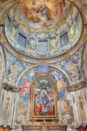 BRESCIA, ITALY - MAY 22, 2016: The Immaculate chapel in church Chiesa di San Francesco dAssisi with Immaculate altar piece by Grazio Cossali (1563  - 1629), and frecoes by G. B. Sassi (1679 - 1762). Editorial