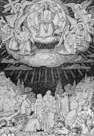 lithography: SEBECHLEBY, SLOVAKIA - JULY 27, 2015: The Last judgment lithography by artist Scheuchl 1907 in the book Zivot Jezisa Krista bozskeho Spasitela naseho printed in Trnava. Editorial