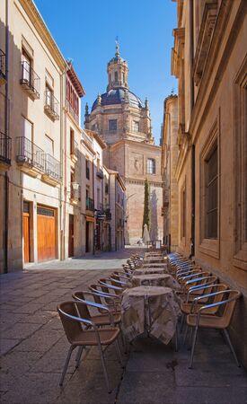 Salamanca - The street and cupola of La Clerecia - Pontifical University.