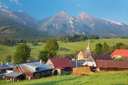 High Tatras - Belianske Tatry mountains and Zdiar village.