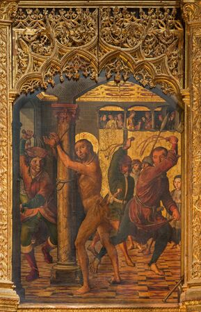 AVILA, SPAIN, APRIL - 18, 2016: The painting of The Flagellation on the main altar of Catedral de Cristo Salvador by Pedro Berruguete (1499). Editorial