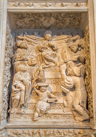AVILA, SPAIN, APRIL - 18, 2016: The relief of Twelve old Jesus in the Temple on the renaissance transchoir alat by Juan Rodriguez and Lucas Giraldo in Catedral de Cristo Salvador from 16. cent. Editorial