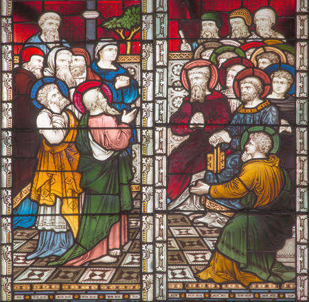 ROME, ITALY - MARCH 9. 2016: The scene St. Paul on the Council at Jerusalem on the stained glass of All Saints' Anglican Church by workroom Clayton and Hall (19. cent.).