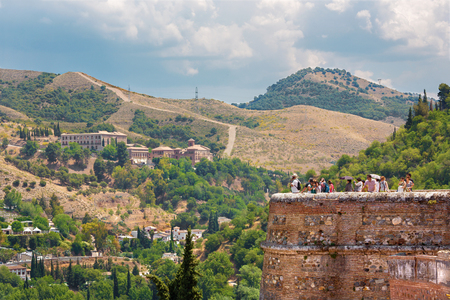 GRANADA, SPAIN - MAY 30, 2015: The look to The Albayzin district and Abadia del Sacromonte from Alhambra fortress.