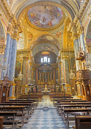 TURIN, ITALY - MARCH 13, 2017: The nave of church Chiesa di Santa Teresa.