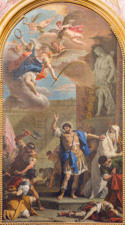 TURIN, ITALY - MARCH 14, 2017: The painting of Sanit Maurice in church Basilica di Suprega by Sebastiano Ricci da Belluno (1659 - 1734).