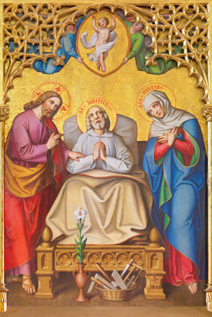 KREMNICA, SLOVAKIA - JULY 16, 2017: The neo-gothic painting of on the wood (The Death of St. Joseph) from side altar of St. Catharine of Alexandria church by Ferenc Storno (1885). Editorial