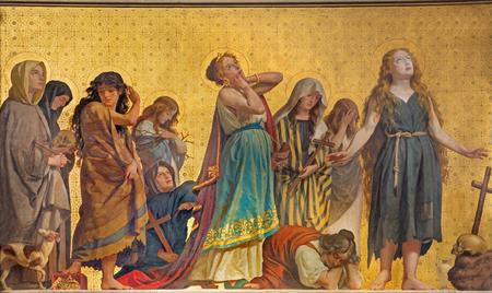 TURIN, ITALY - MARCH 15, 2017: The symbolic fresco of holy women confessants in church Chiesa di San Dalmazzo by Enrico Reffo (1831-1917).