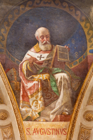 TURIN, ITALY - MARCH 15, 2017:  The fresco of St. Augustine doctor of the church in cupola of church Basilica Maria Ausiliatrice by Giuseppe Rollini (1889 - 1891). 에디토리얼