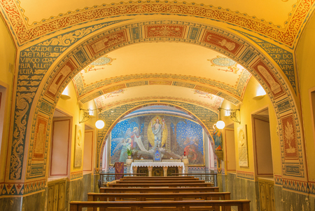 TURIN, ITALY - MARCH 15, 2017: The little chapel Capella Pinardi - the first chapel of Don Bosco the founder of Salesians with the frescoes by Paolo Giovanni Crida (1886  - 1967). Editorial
