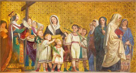 TURIN, ITALY - MARCH 15, 2017: The symbolic fresco of holy wifes and widows in church Chiesa di San Dalmazzo by Enrico Reffo (1831-1917). Editoriali
