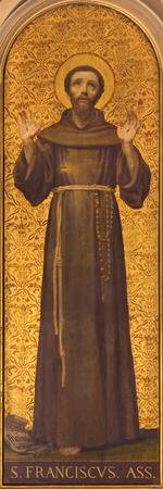 トリノ, イタリア - 2017 年 3 月 13 日: 19 の教会から不明なアーティストによってキエーザ ・ ディ ・ サント ・ トマソでアッシジの聖フランシスの絵