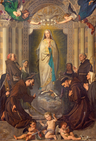 TURIN, ITALY - MARCH 13, 2017: The Painting of Immaculate Conception of Virgin Mary among the saints (St. Bernardin, Bonaventure, Agnes, Lucy) by Enrico Reffo (1831 - 1917).