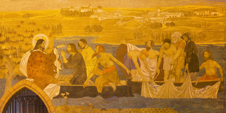 BERLIN, GERMANY, FEBRUARY - 16, 2017: The fresco of Miracle Fishing in St. Pauls evengelical church by workroom Gathemann & Kellner from begin of 20. cent. in Jugendstil.