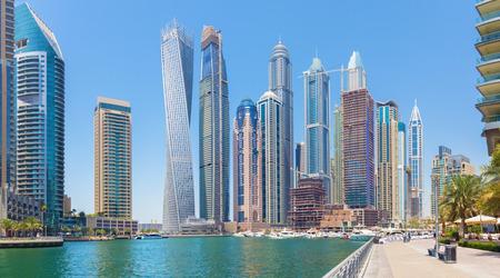 DUBAI, UAE - APRIL 24, 2017: The yachts and promenade of Marina.
