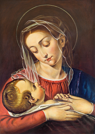 トリノ, イタリア - 2017 年 3 月 15 日: 不明なアーティストによってサン ・ Dalmazzo 教会の聖母子の絵画。