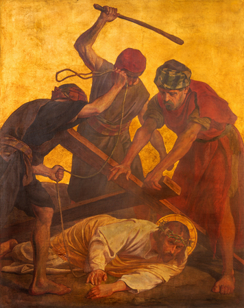 BERLIN, GERMANY, FEBRUARY - 16, 2017:  The paint on the metal plate - Jesus fall under cross in church St. Matthew  by Philipp Schumacher (1907 - 1915). Sajtókép
