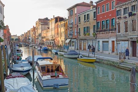 VENICE, ITALY - MARCH 14, 2014: Fundamenta and canal Rio di Santa Anna.