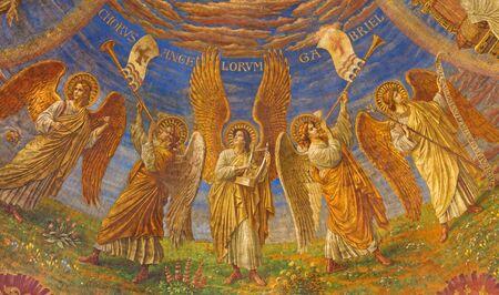 BERLIN, GERMANY, FEBRUARY - 15, 2017: The fresco in cupola of Rosenkranz Basilica by Friedrich Stummels, Karl Wenzel, and Theodor Nuttgens from begin of 20. cent..
