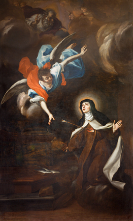 TURIN, ITALY - MARCH 13, 2017: The painting of Trasverberazione (mystical experience) di Santa Teresa d'Avila (1640) in church Chiesa di Santa Teresa by Guglielmo Caccia (Moncalvo). Editorial