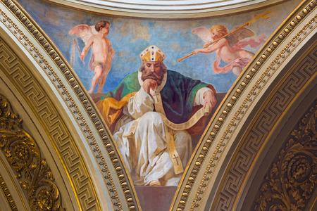 TURIN, ITALY - MARCH 16, 2017: The fresco of St. Augustine in cupola of church Chiesa di San Massimo Paolo Emilio Volgari (19. cent.) Editorial