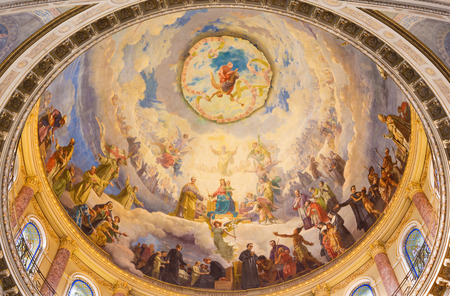 TURIN, ITALY - MARCH 15, 2017: The detail of fresco Mary Help of Christians in cupola of church Basilica Maria Ausiliatrice by Giuseppe Rollini (1889 - 1891).
