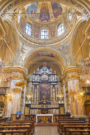 TURIN, ITALY - MARCH 13, 2017: The noe - baroque cupola and presbytery in church Chiesa di San Giuseppe.