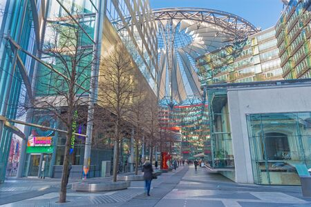 BERLIN, GERMANY, FEBRUARY - 15, 2017: The Sony center in morning. The centre was designed by Helmut Jahn and Peter Walker  as landscape architect and construction was completed in 2000.