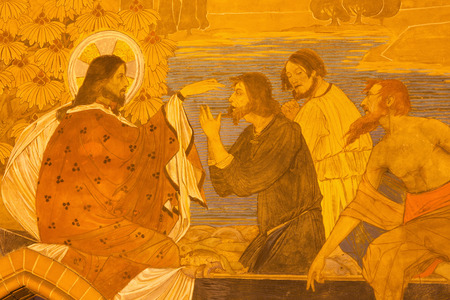 BERLIN, GERMANY, FEBRUARY - 16, 2017: The detail of fresco of Miracle Fishing in St. Pauls evengelical church by workroom Gathemann & Kellner from begin of 20. cent. in Jugendstil.
