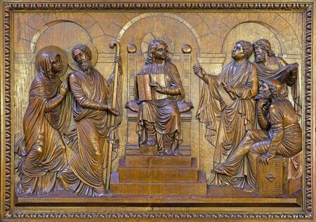 BERLIN, GERMANY, FEBRUARY - 15, 2017: The carved relief  Twelve old Jesus in the Temple in St. John the Baptist basilica (Johannes Basilika) by Anton Morman (19. cent.).