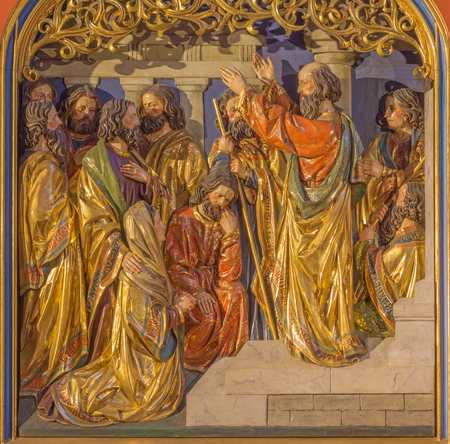BERLIN, GERMANY, FEBRUARY - 16, 2017: The Sermon of St. Paul in Athens on Aeropagus hill. The carved relief on the main altar of Dominicans church of St. Pauls by unknown artist (1915).