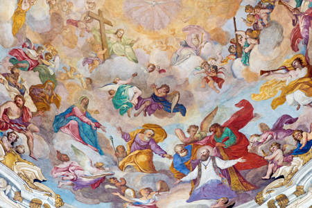 TURIN, ITALY - MARCH 13, 2017: The detail from cupola of Chiesa della Visitazione with the fresco Glory of St. Francis of Sales by Michele Antonio Milocco  (1690 - 1772).