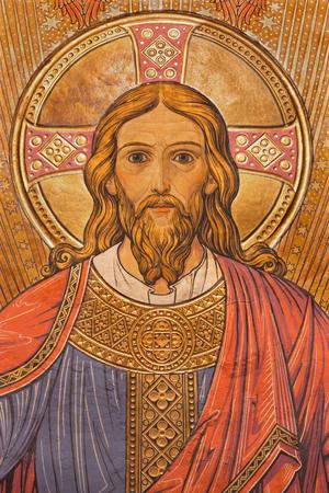 BERLIN, ALLEMAGNE, LE 15 FÉVRIER 2017: La fresque de Jésus-Christ le Pantokrator dans l'abside principale de l'église Saint-Jean-Baptiste, réalisée par un artiste inconnu de 20. cent.