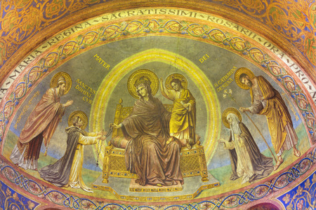 BERLIN, GERMANY, FEBRUARY - 15, 2017: The fresco of Madonna in main apse of Rosenkranz Basilica by Friedrich Stummels, Karl Wenzel, and Theodor Nuttgens from begin of 20. cent..