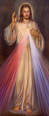 BERLÍN, ALEMANIA, FEBRERO - 15, 2017: La pintura de la misericordia divina tradicional de Jesús en la iglesia de San Juan Bautista del artista desconocido del 20 centavo.