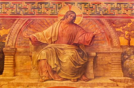 BERLIN, GERMANY, FEBRUARY - 14, 2017: The Fresco of Jesus in Herz Jesus church by Friedrich Stummel and Karl Wenzel from end of 19. and beginn of 20. cent.