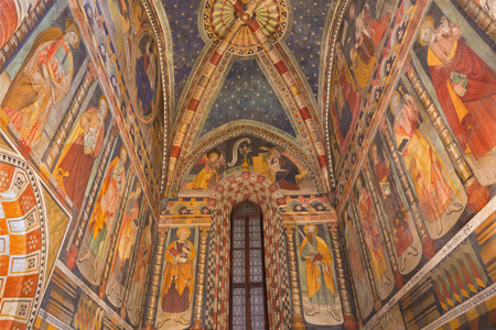 TURIN, ITALY - MARCH 14, 2017: The fresco in church Chiesa di San Domenico and Capella delle Grazie by unknown artist of 16. cent.