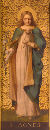 TURIN, ITALY - MARCH 13, 2017: The painting of St. Agnes in church Chiesa di Santo Tomaso by unknown artist from and of 19. cent.